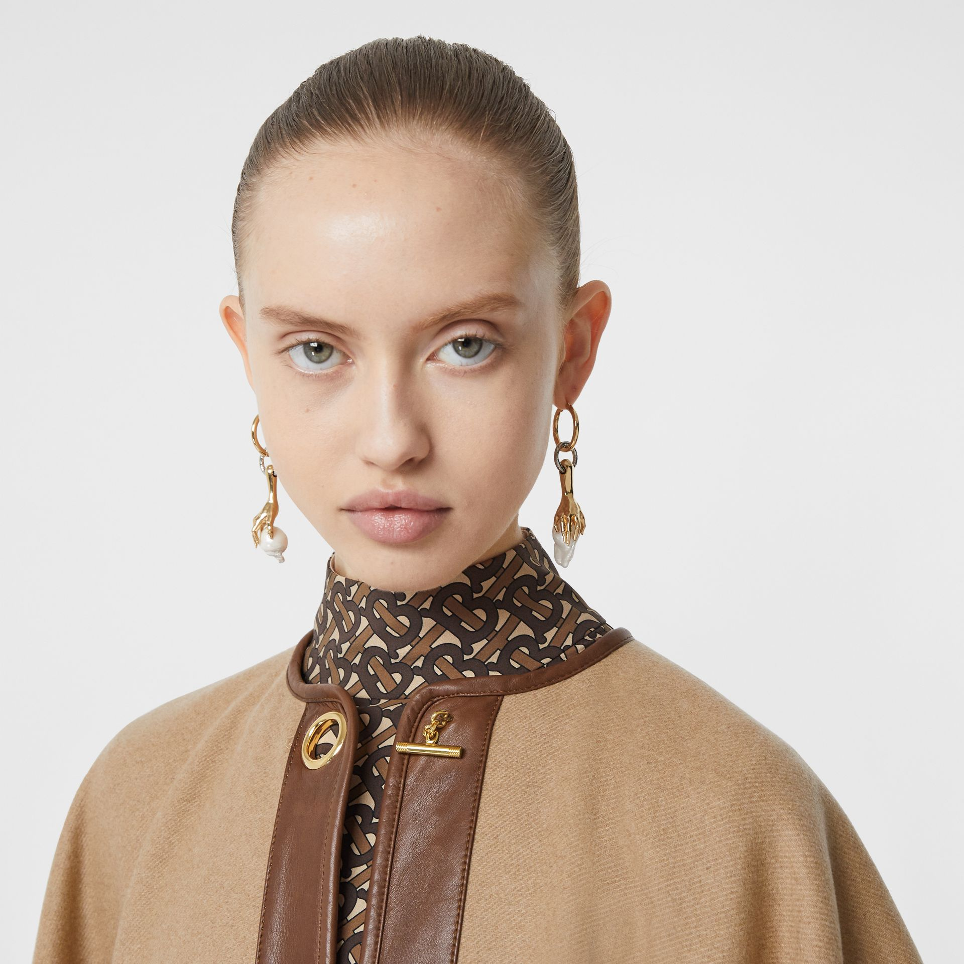 Lambskin Trim Double-faced Cashmere Cape in Camel | Burberry United Kingdom - gallery image 1