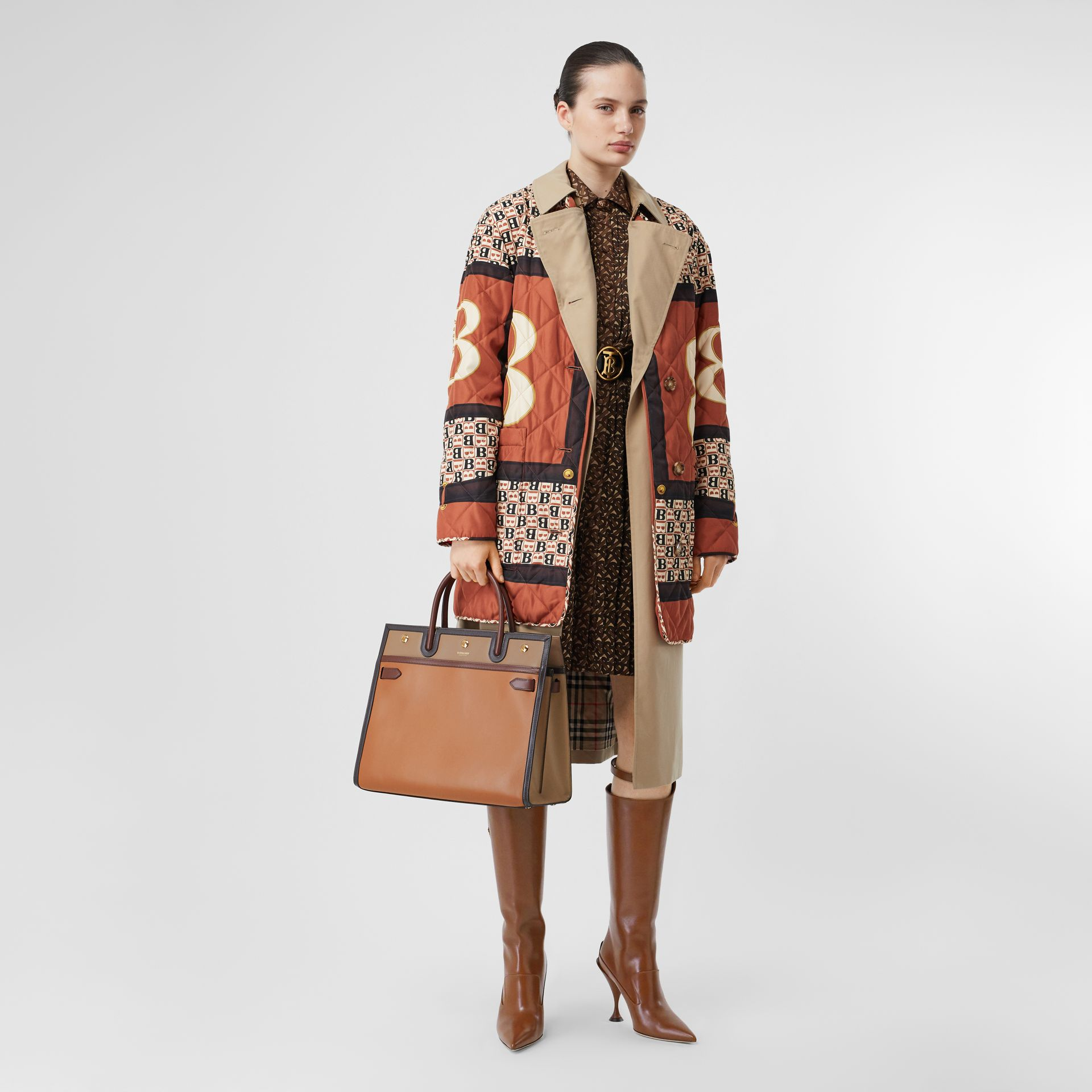 Medium Colour Block Leather Two-handle Title Bag in Soft Fawn - Women | Burberry United States - gallery image 5