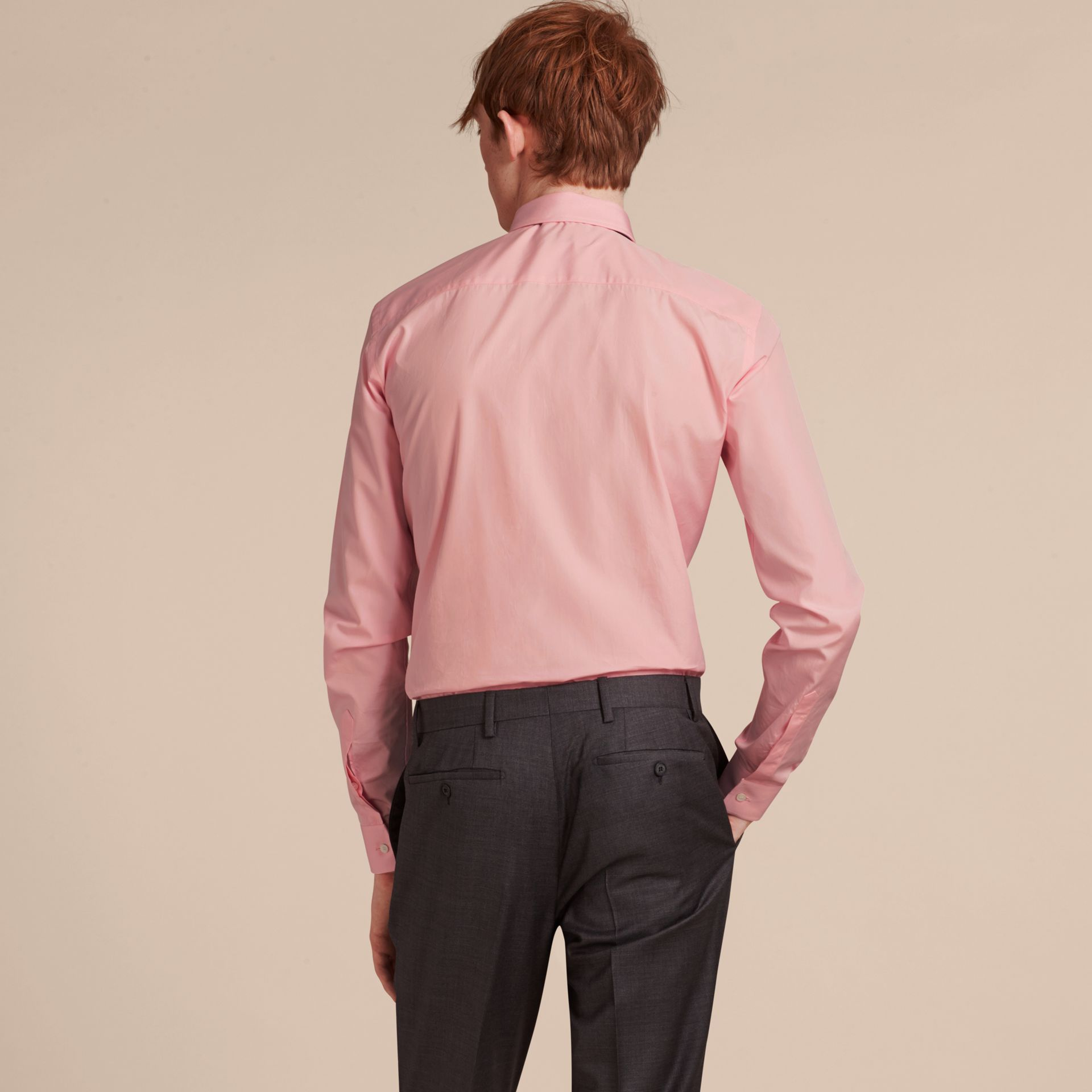 Slim Fit Cotton Poplin Shirt in City Pink - Men | Burberry - gallery image 3