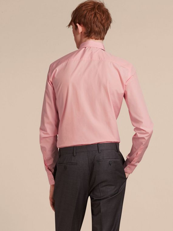 Slim Fit Cotton Poplin Shirt in City Pink - Men | Burberry - cell image 2