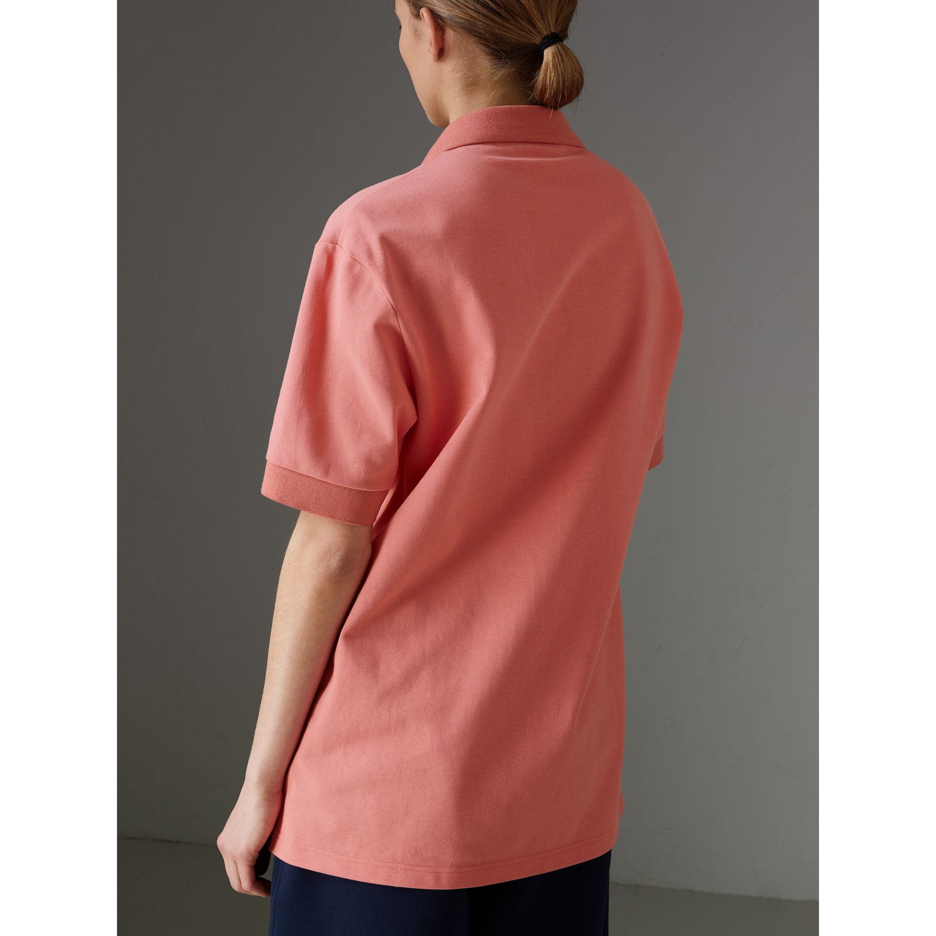 Reissued Cotton Polo Shirt in Coral - Women | Burberry - gallery image 2