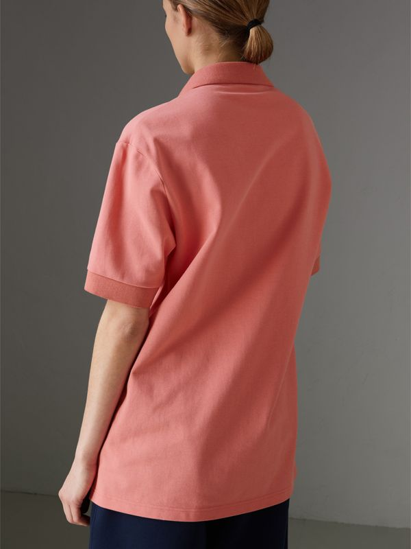 Reissued Cotton Polo Shirt in Coral - Women | Burberry - cell image 2