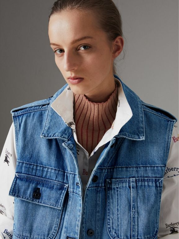 Sleeveless Japanese Denim Jacket in Steel Blue - Women | Burberry Australia - cell image 1