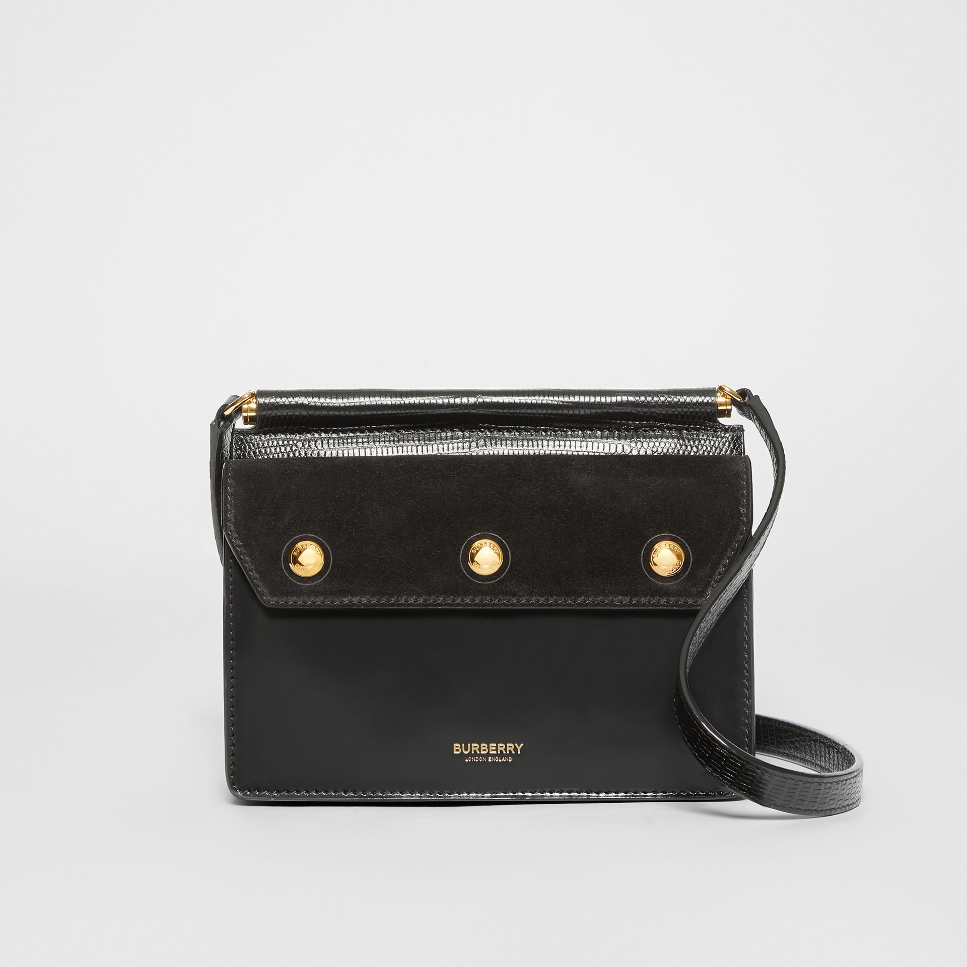 Mini Suede and Leather Title Bag with Pocket Detail in Black - Women | Burberry United Kingdom - gallery image 0
