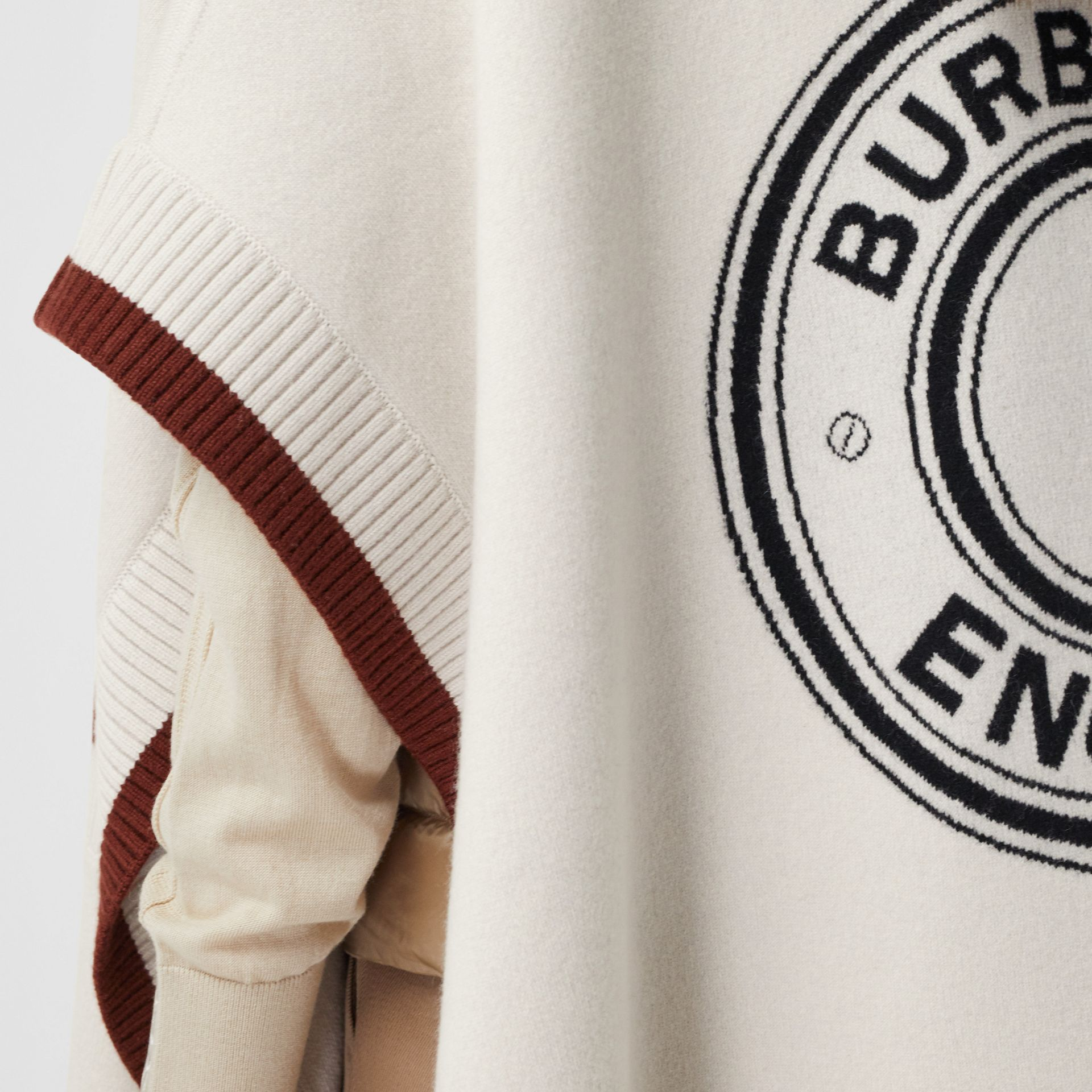Logo Graphic Wool Cashmere Jacquard Hooded Cape in Canvas - Women | Burberry - gallery image 4