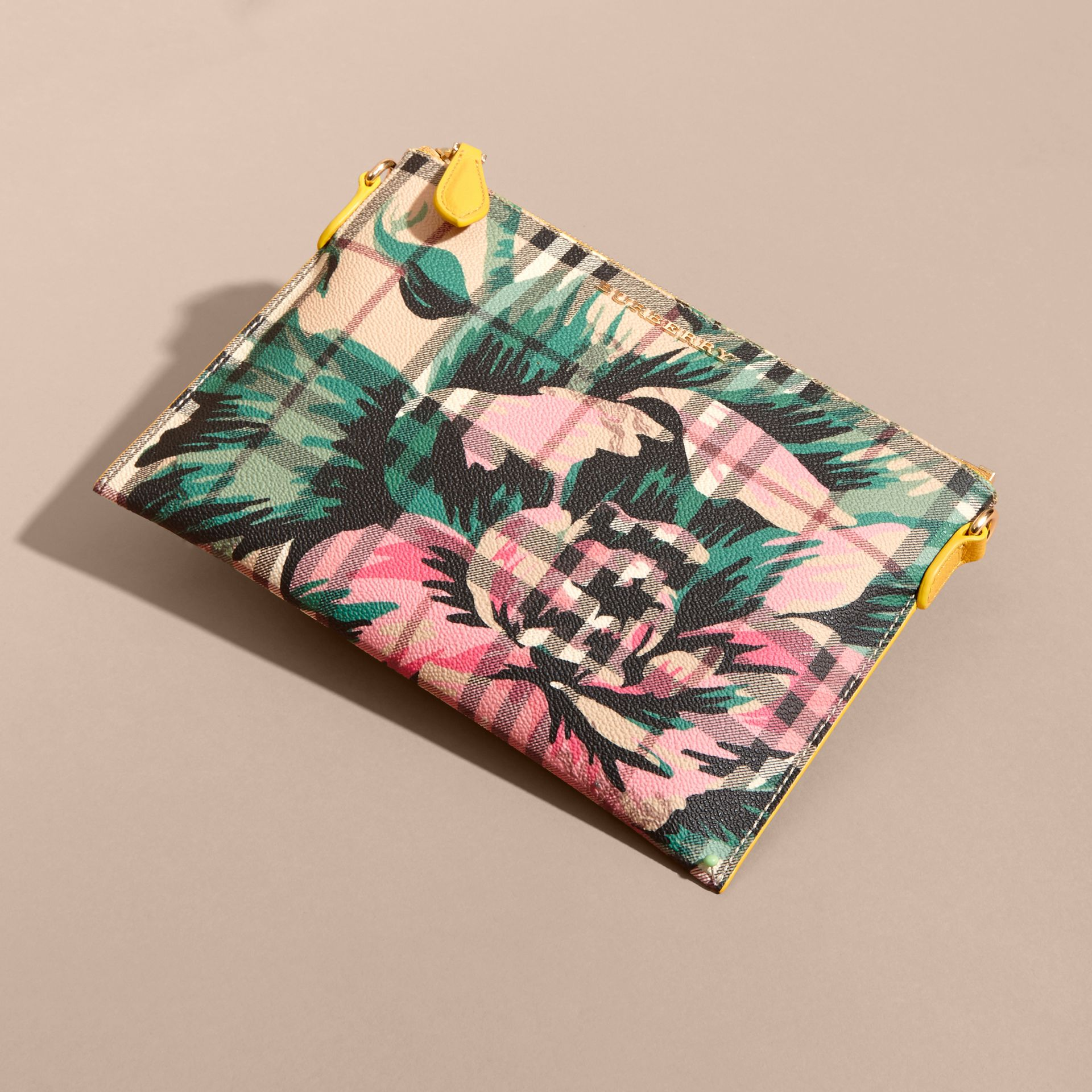 Peony Rose Print Haymarket Check and Leather Clutch Bag in Larch Yellow/emerald Green - gallery image 8