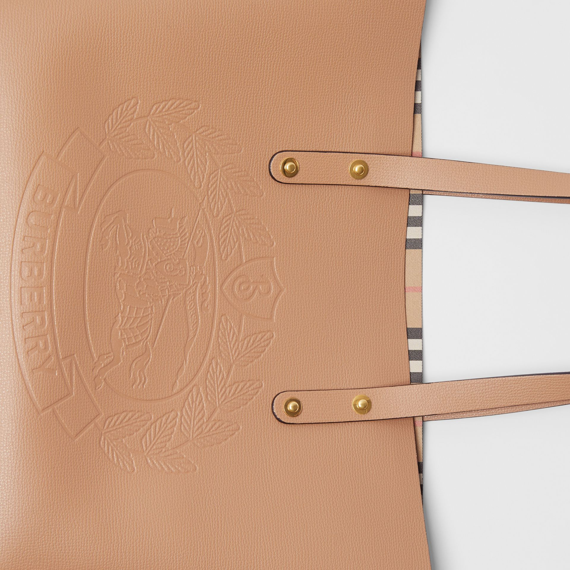 Small Embossed Crest Leather Tote in Light Camel - Women | Burberry - gallery image 1