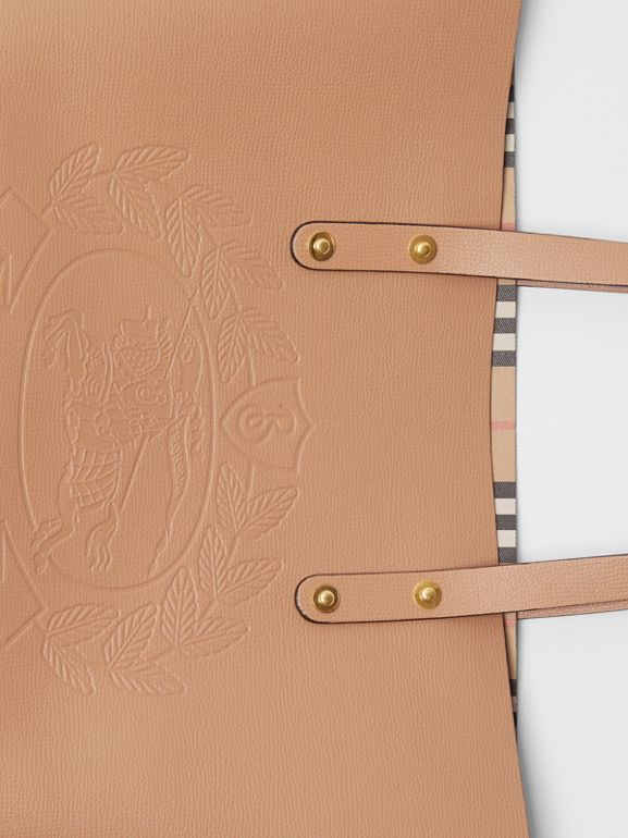 Small Embossed Crest Leather Tote in Light Camel - Women | Burberry United Kingdom - cell image 1