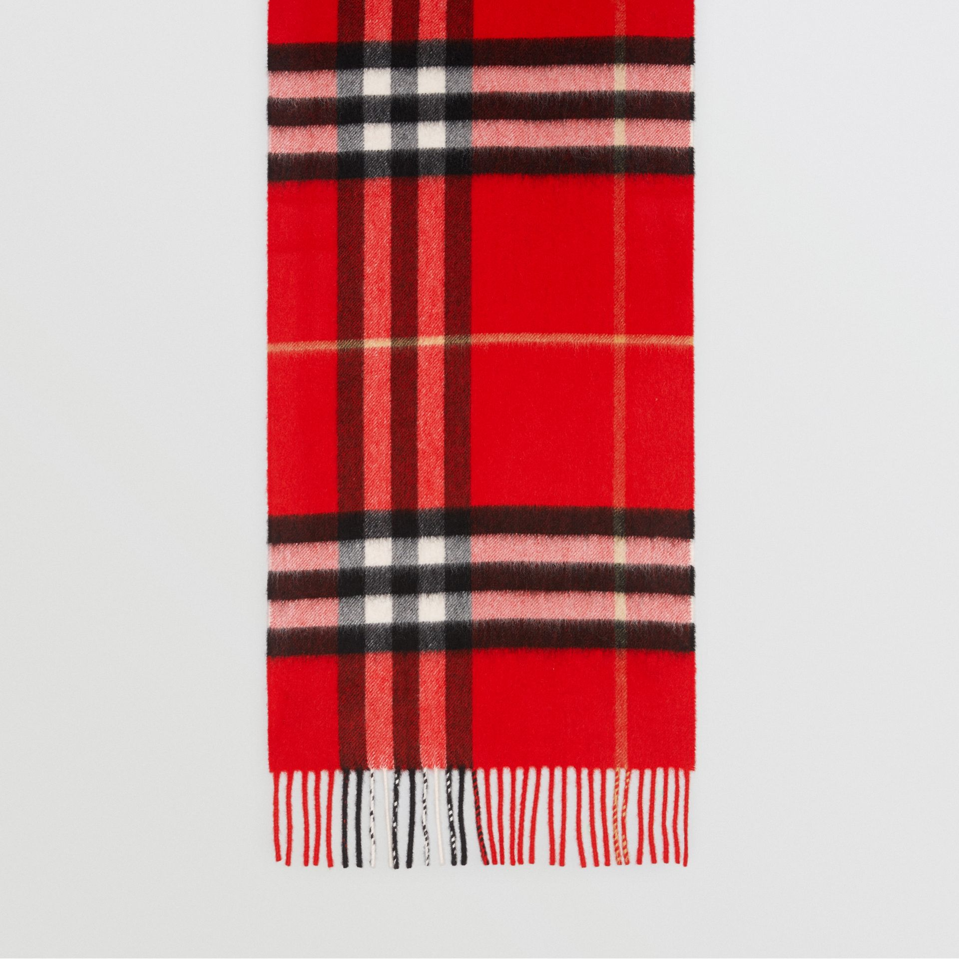The Classic Check Cashmere Scarf in Bright Military Red | Burberry United Kingdom - gallery image 4