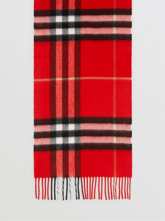 The Classic Check Cashmere Scarf in Bright Military Red