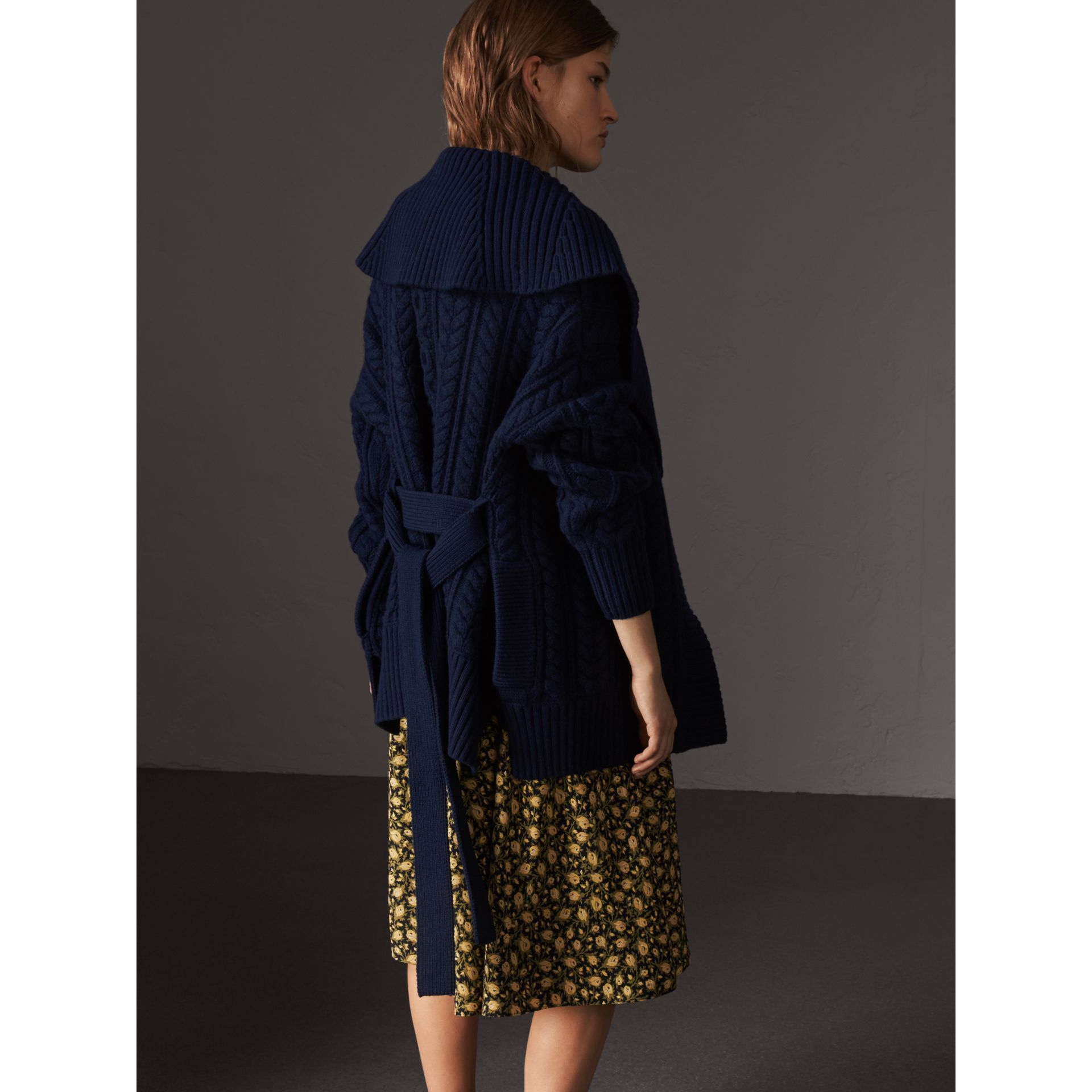 Cable Knit Wool Cashmere Wrap Cardigan in Navy - Women | Burberry - gallery image 3
