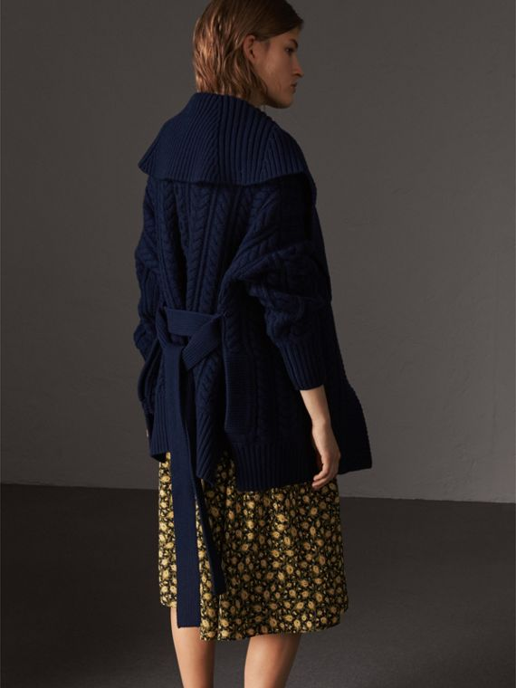 Cable Knit Wool Cashmere Wrap Cardigan in Navy - Women | Burberry - cell image 2