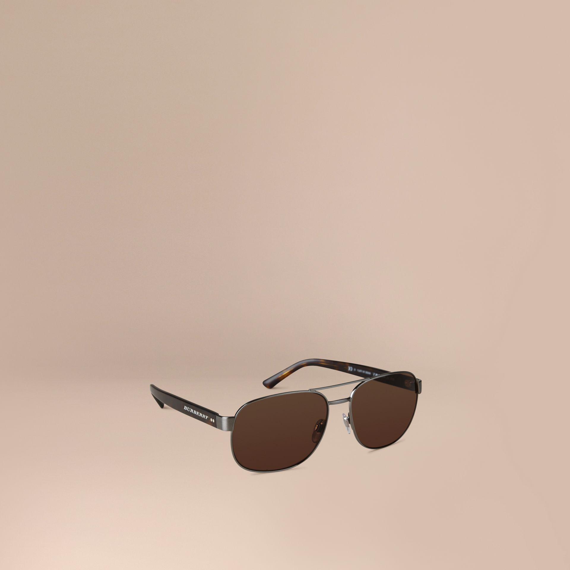 Brown Square Frame Aviator Sunglasses Brown - gallery image 1