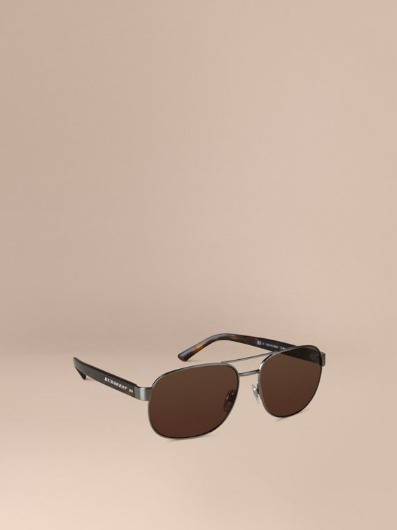 Square Frame Aviator Sunglasses Brown
