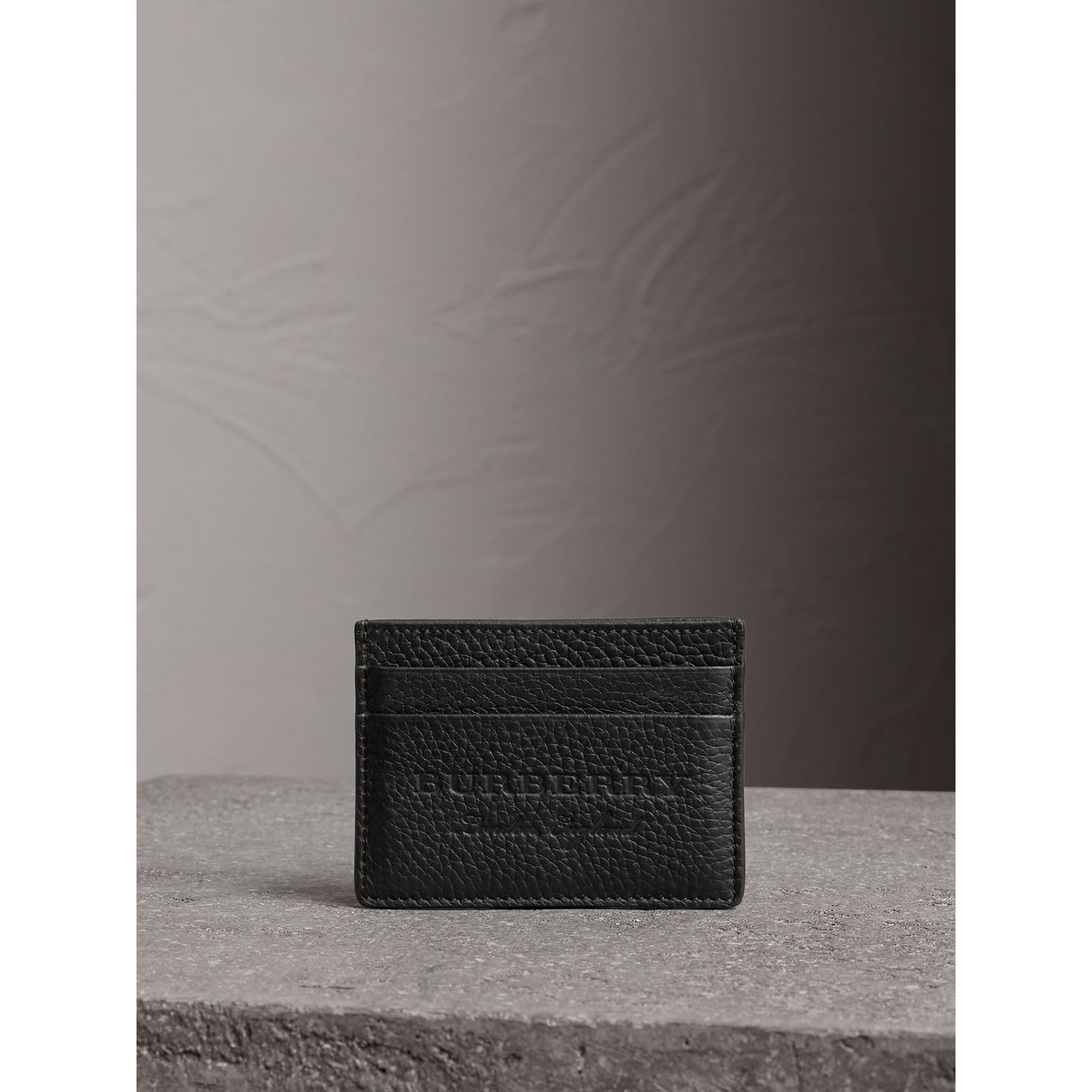 Embossed Textured Leather Card Case in Black | Burberry - gallery image 3