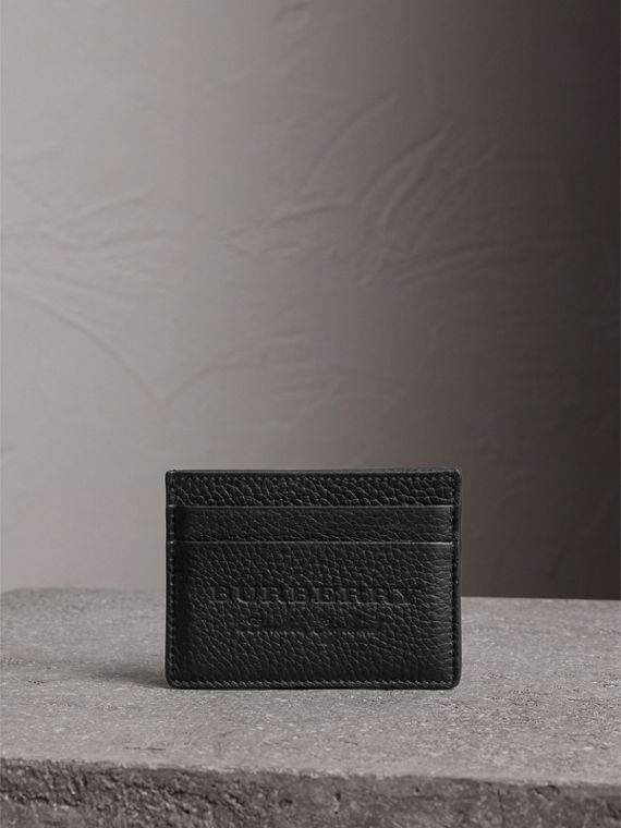 Embossed Textured Leather Card Case in Black - Women | Burberry - cell image 3