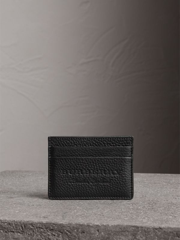 Embossed Textured Leather Card Case in Black | Burberry - cell image 3