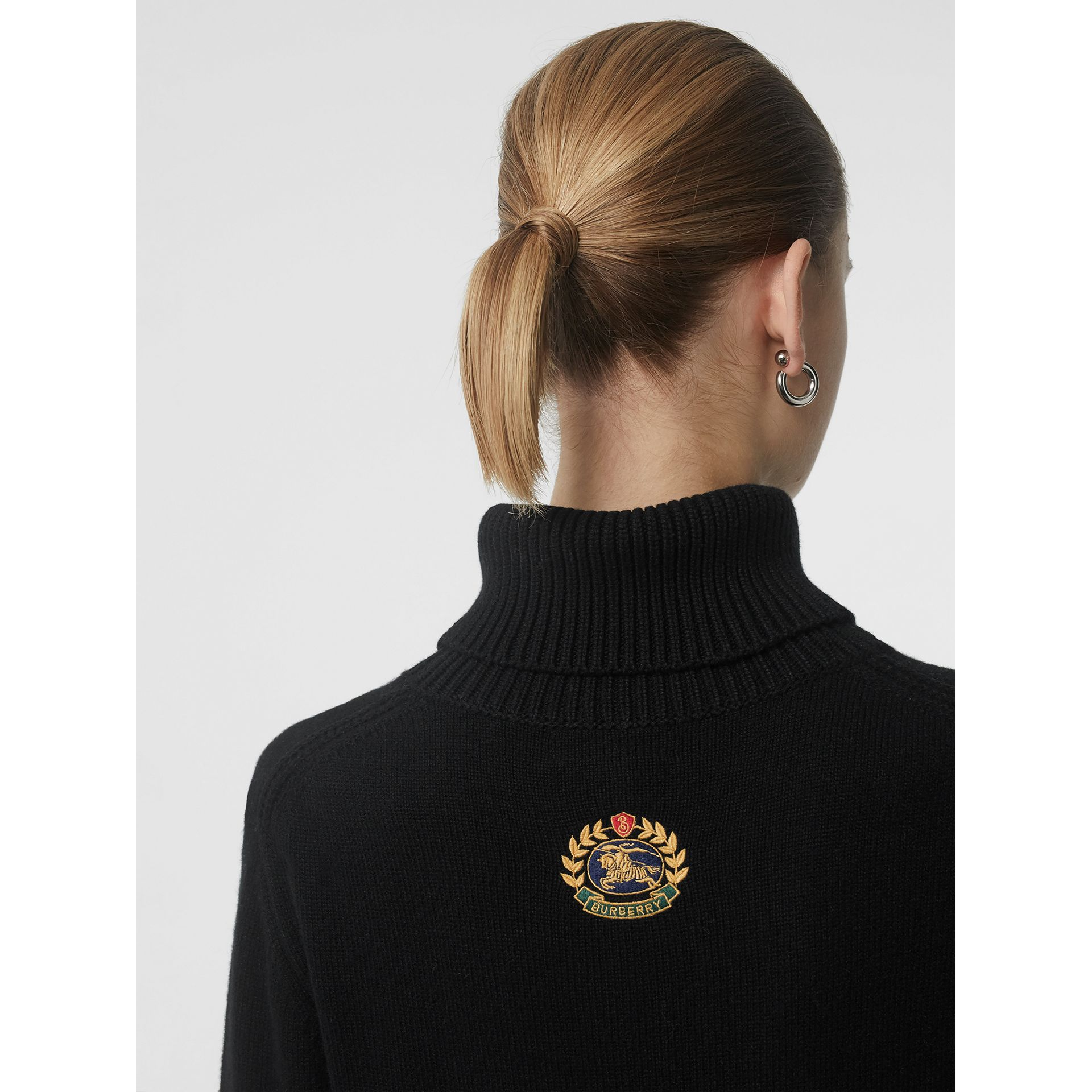 Embroidered Crest Cashmere Roll-neck Sweater in Black - Women | Burberry United Kingdom - gallery image 1