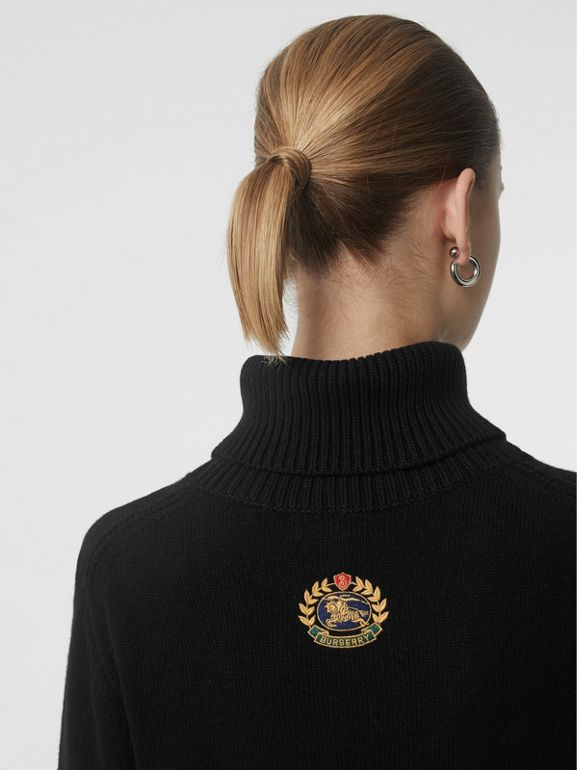 Embroidered Crest Cashmere Roll-neck Sweater in Black - Women | Burberry United Kingdom - cell image 1