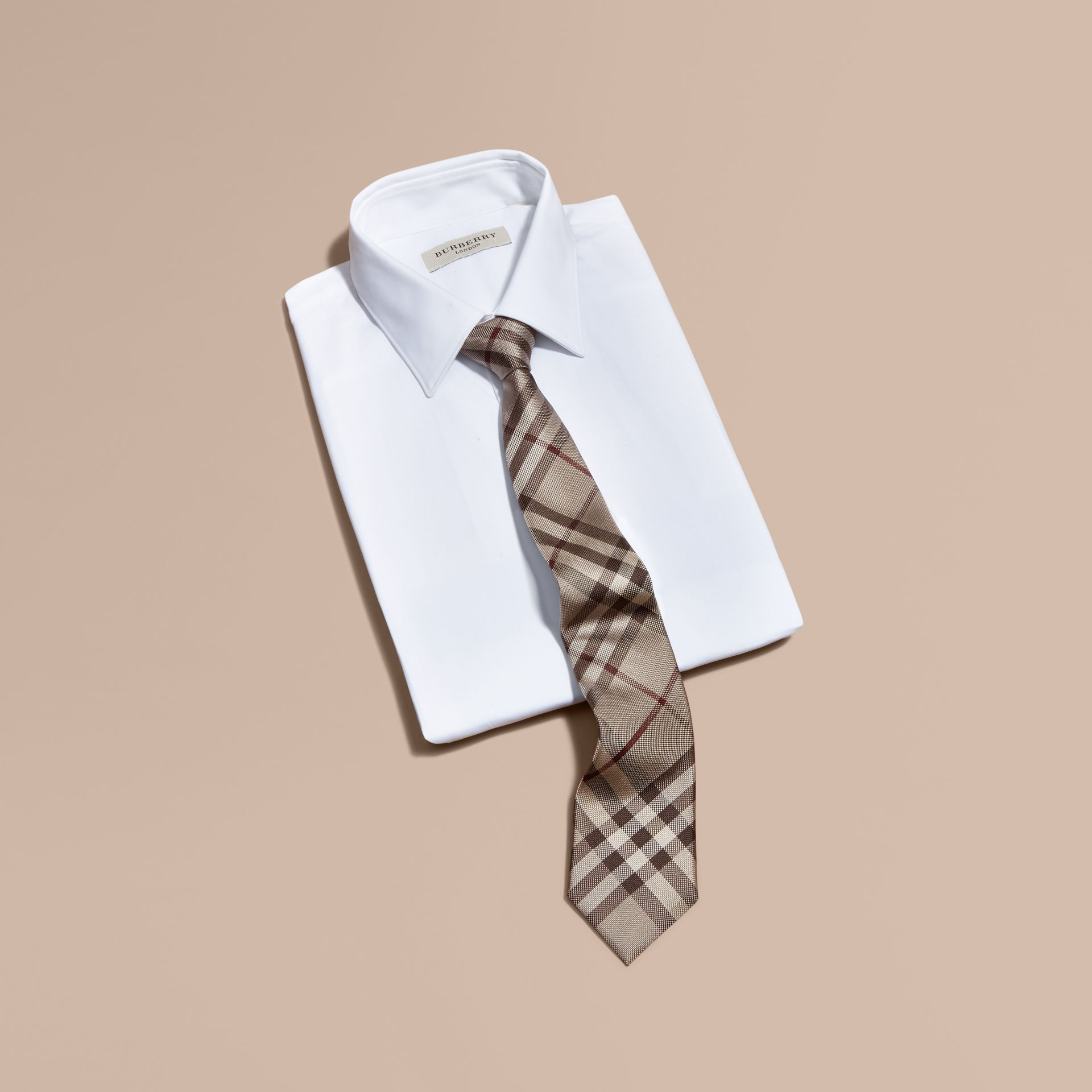Modern Cut Check Silk Tie in Smoked Trench - Men | Burberry - gallery image 4