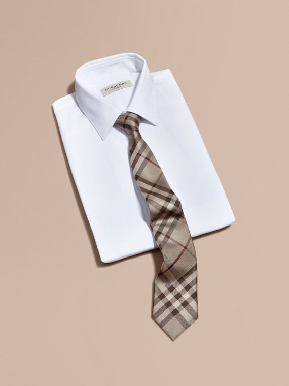 Modern Cut Check Silk Tie in Smoked Trench - Men | Burberry - cell image 3
