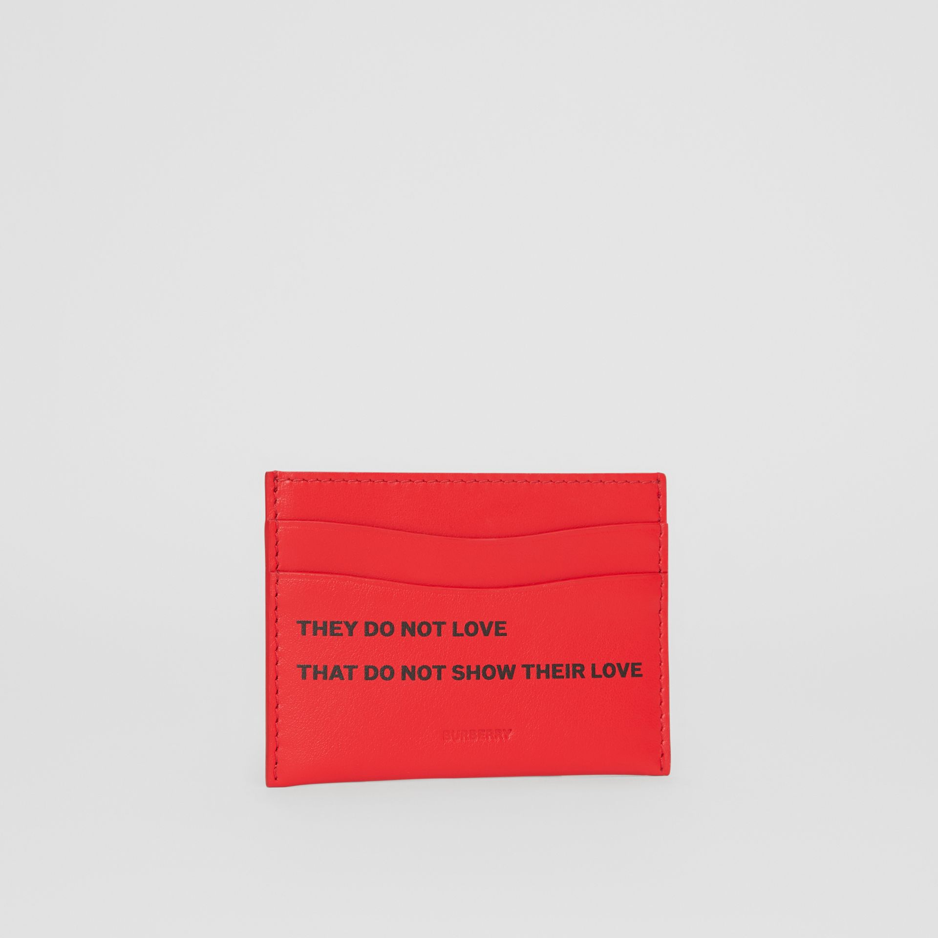 Quote Print Leather Card Case in Bright Military Red - Women | Burberry - gallery image 3