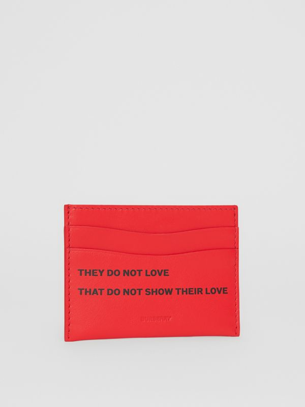 Quote Print Leather Card Case in Bright Military Red - Women | Burberry United Kingdom - cell image 3