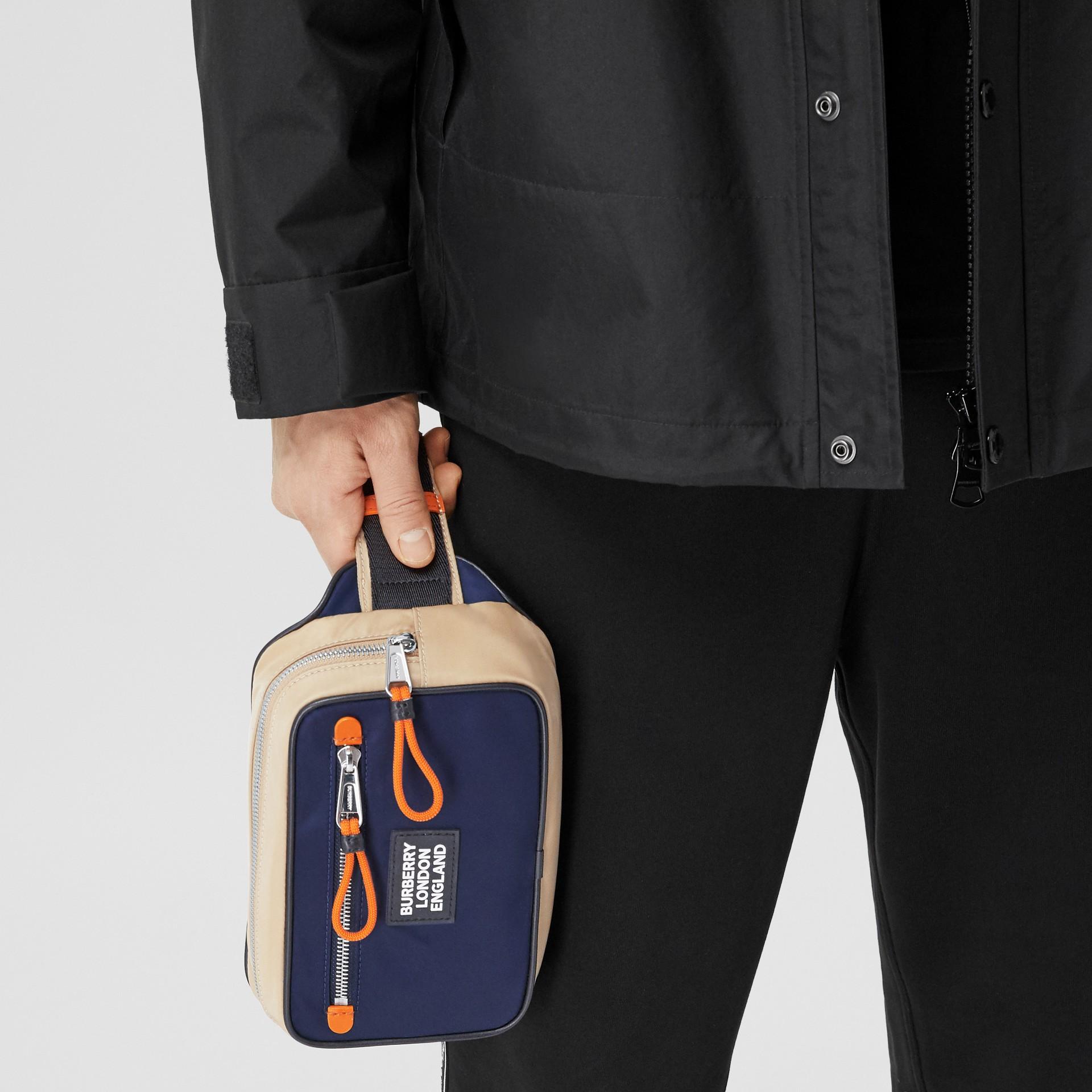 Logo Appliqué Two-tone ECONYL® Bum Bag in Regency Blue/bright Orange | Burberry United Kingdom - gallery image 11