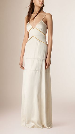 Long Empire Line Silk Dress