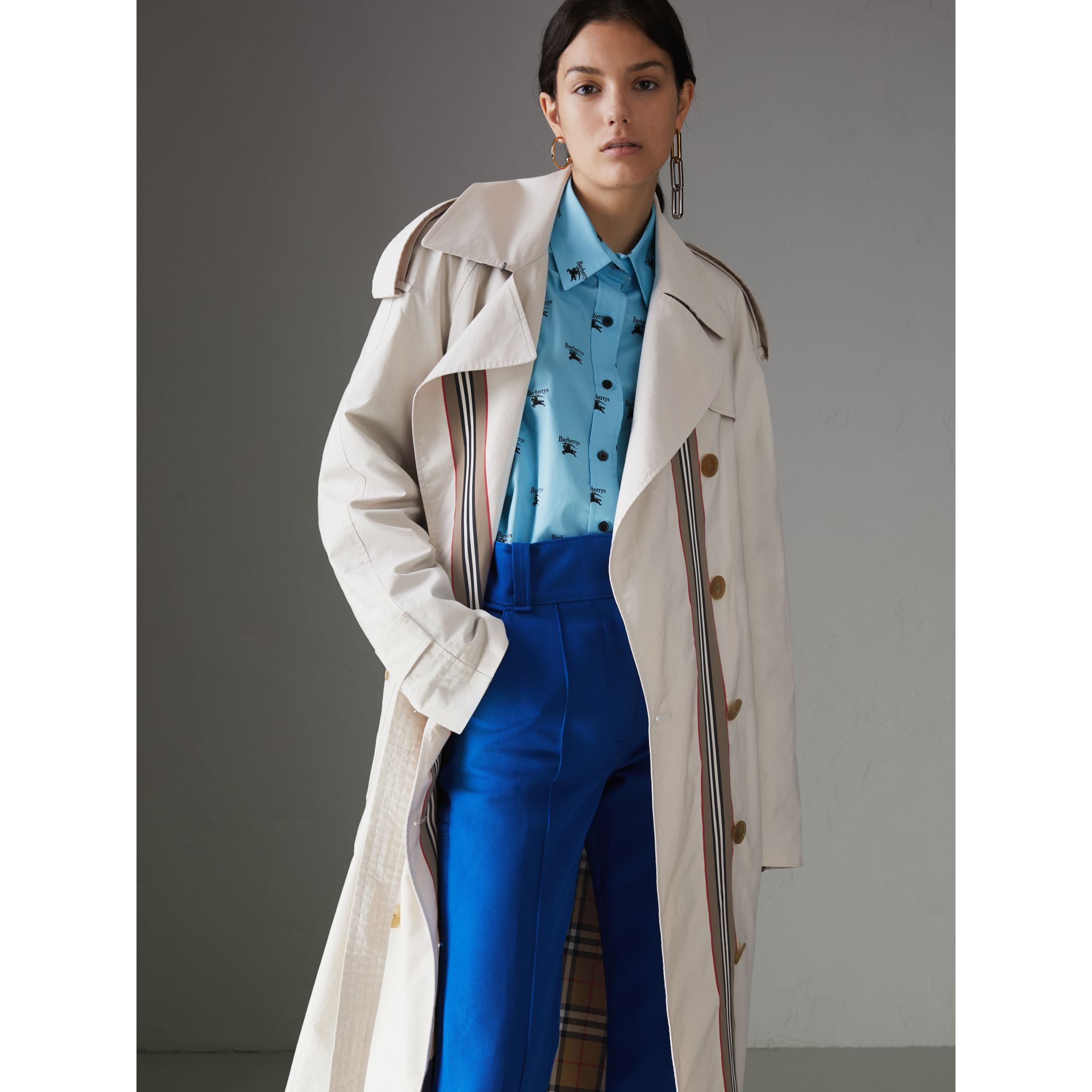 Heritage Stripe Cotton Gabardine Trench Coat in Stone - Women | Burberry - gallery image 5