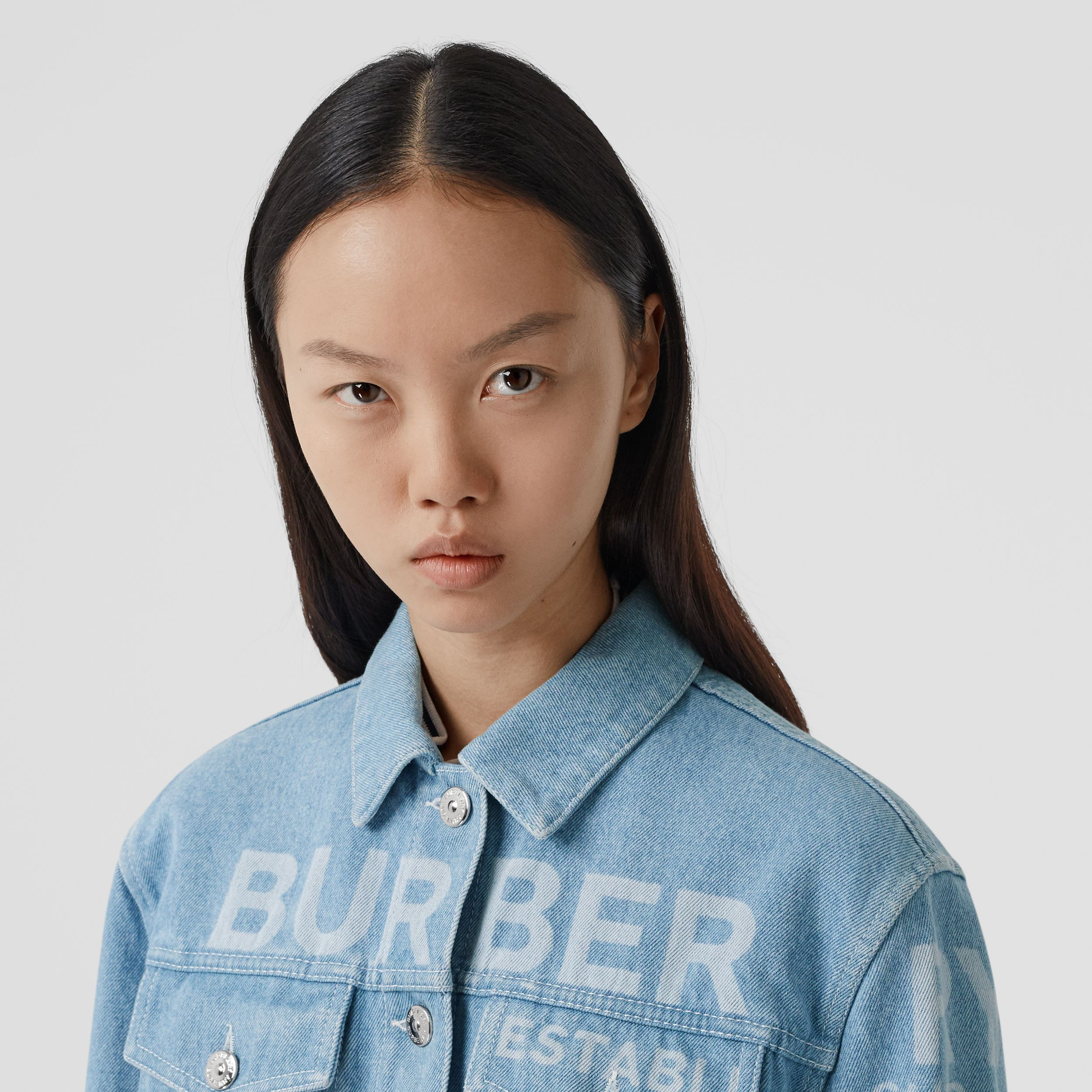Horseferry Print Bleached Denim Jacket in Light Indigo - Women | Burberry - 2