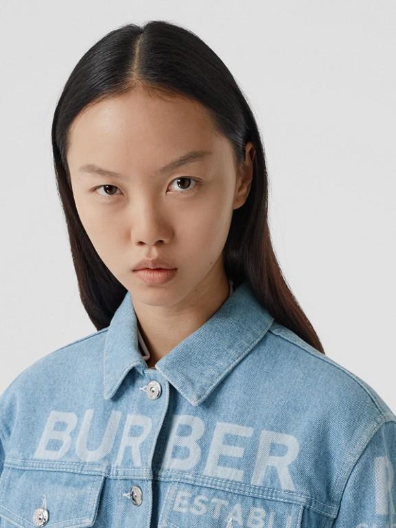 Horseferry Print Bleached Denim Jacket in Light Indigo - Women | Burberry Singapore - cell image 1