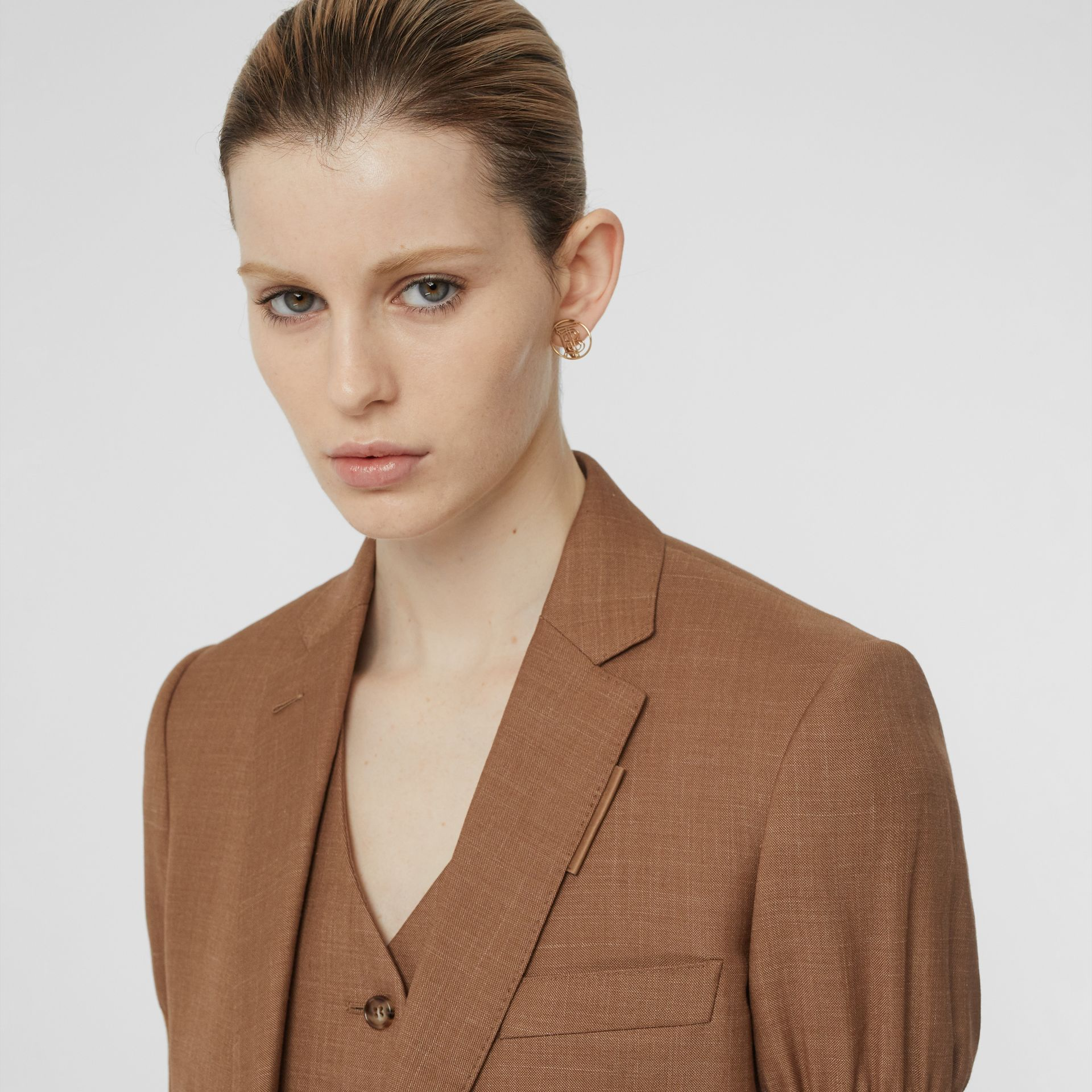 Panelled-sleeve Mohair Wool Blend Tailored Jacket in Bronze - Women | Burberry - gallery image 7