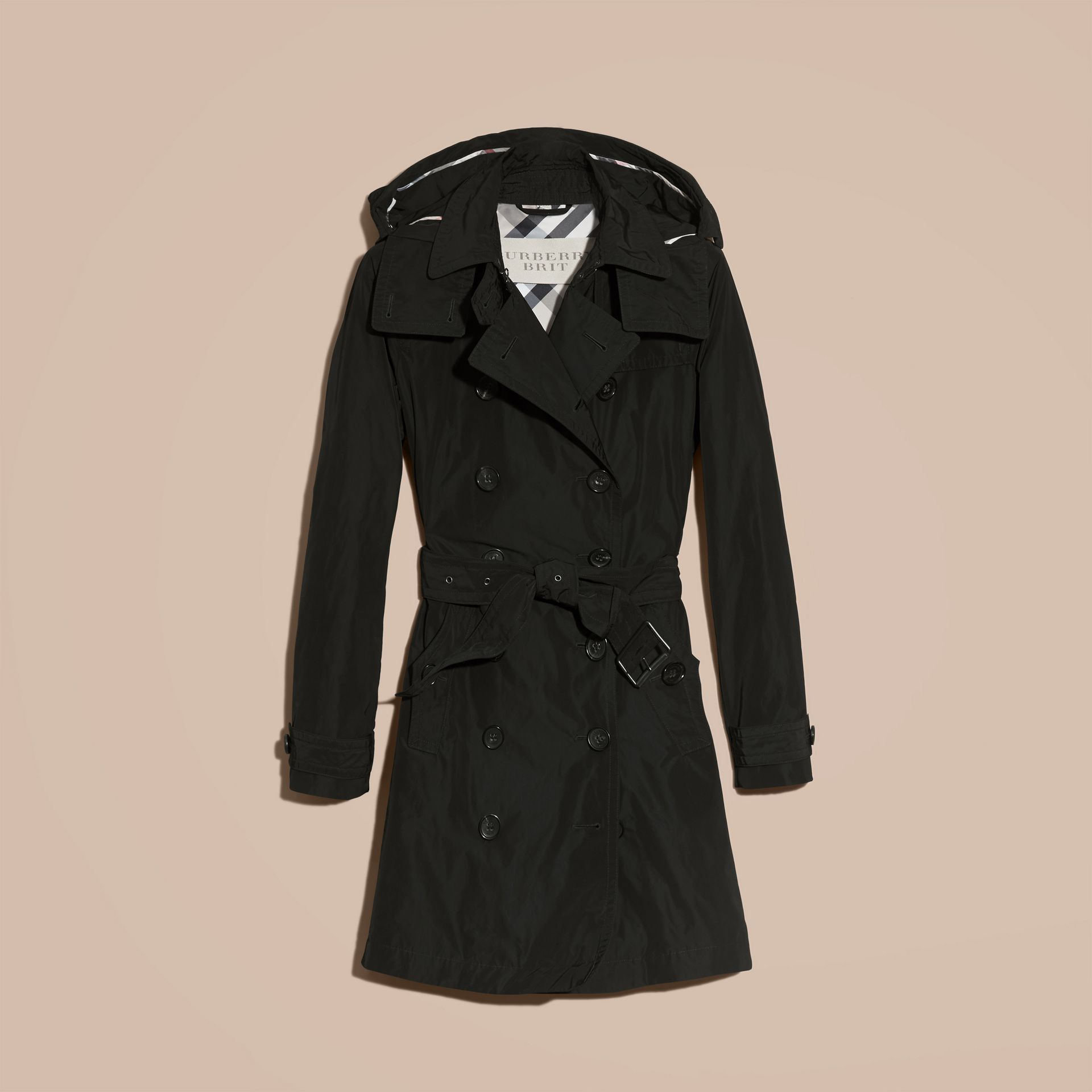 Black Taffeta Trench Coat with Detachable Hood Black - gallery image 4