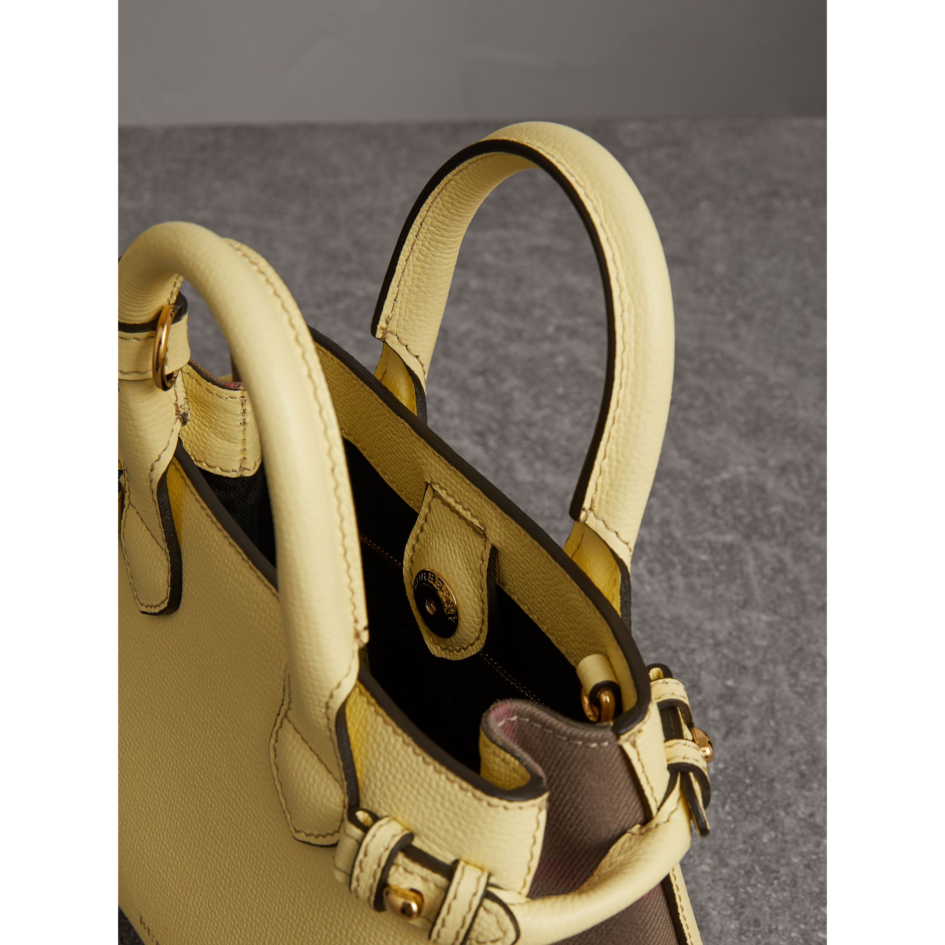 The Baby Banner in Leather and House Check in Camomile Yellow - Women | Burberry Singapore - gallery image 4