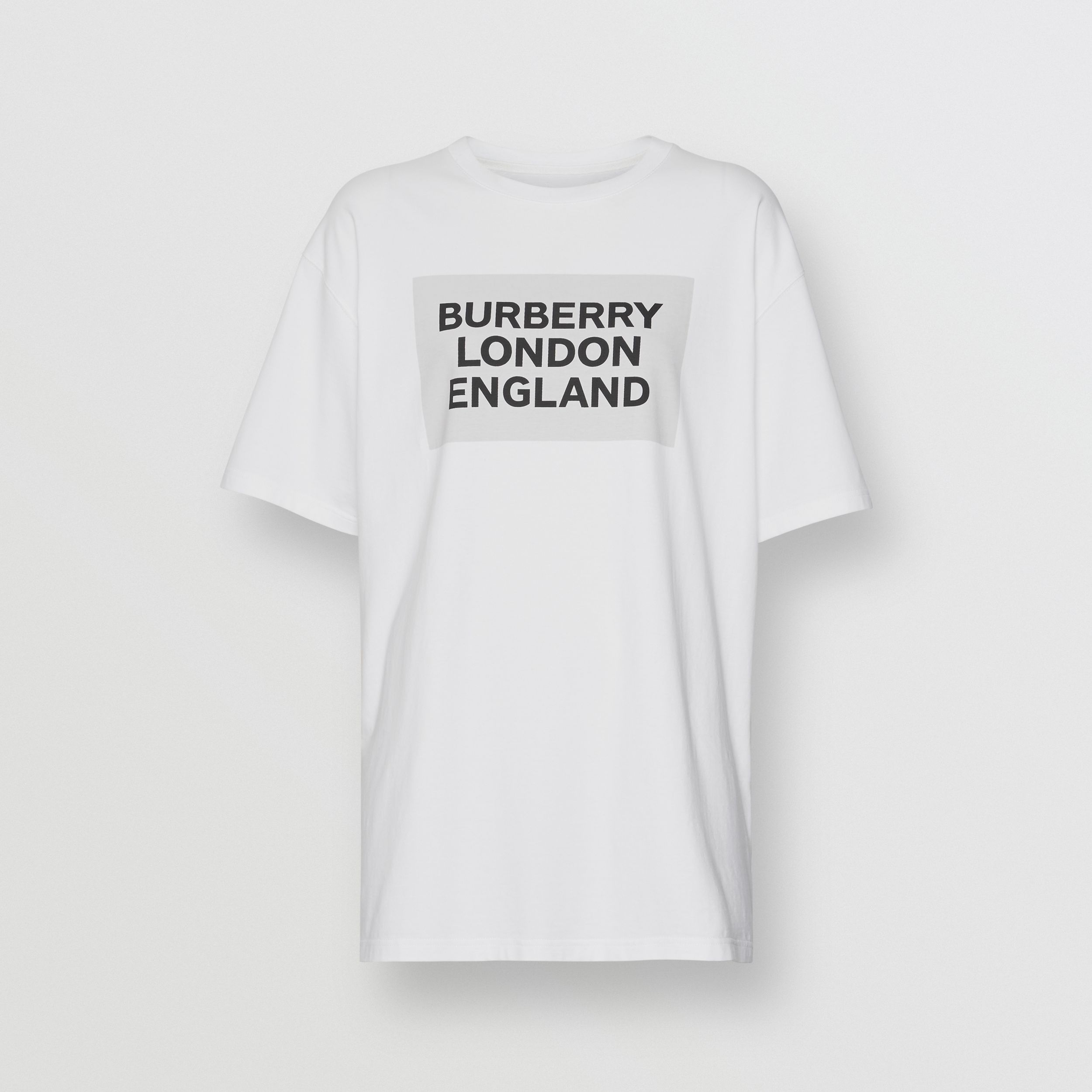 Logo Print Stretch Cotton Oversized T-shirt in Optic White | Burberry - 4