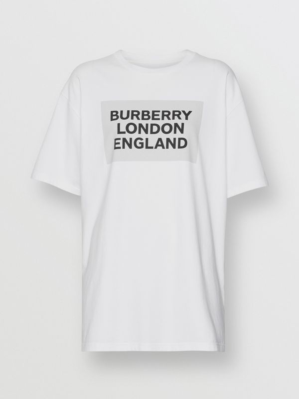 Logo Print Stretch Cotton Oversized T-shirt in Optic White - Women | Burberry - cell image 3