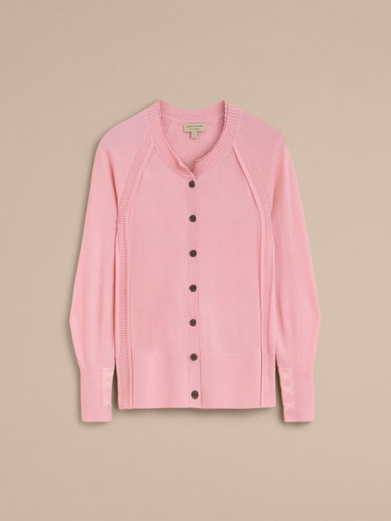 Open-knit Detail Cashmere Cardigan in Apricot Pink - Women | Burberry Australia - cell image 3
