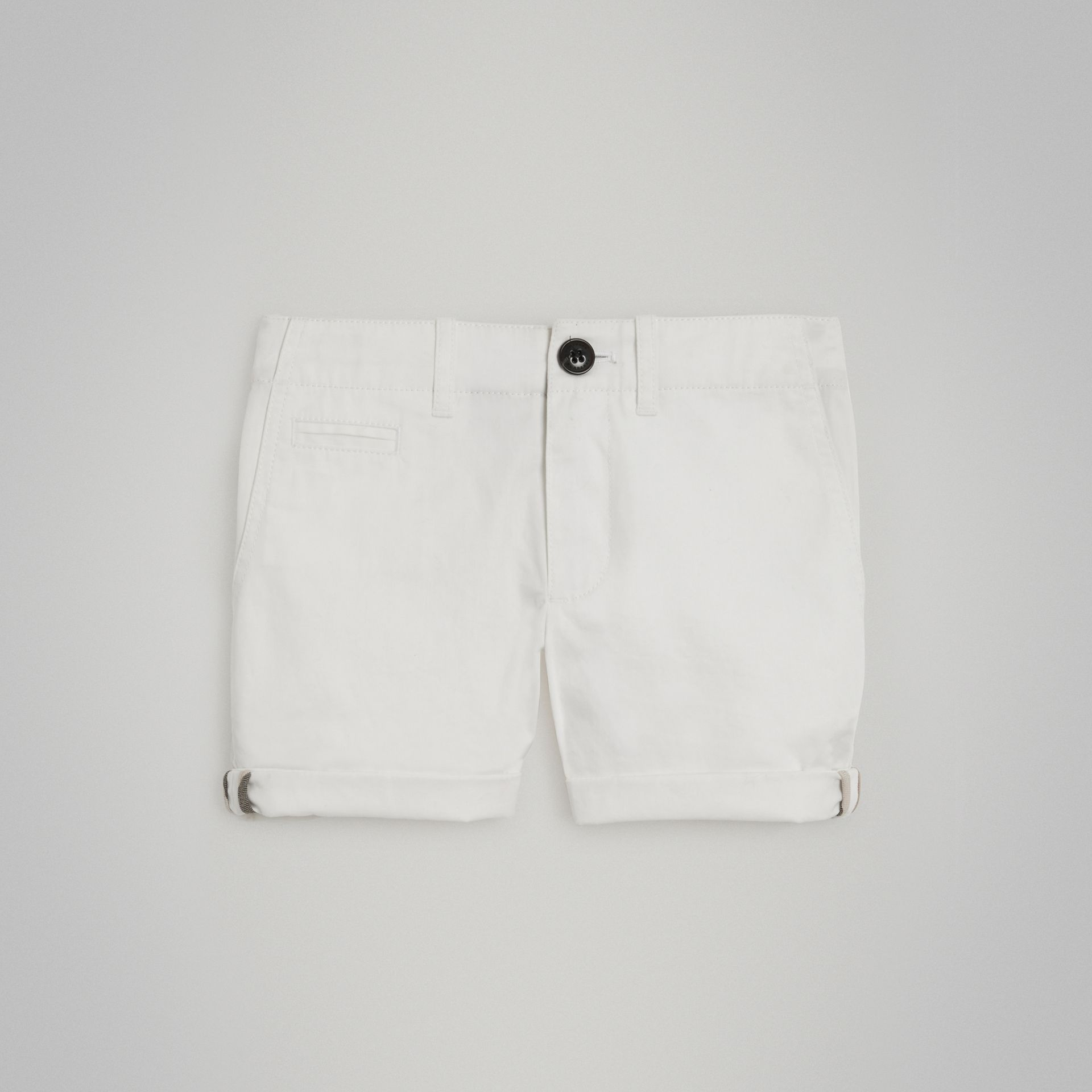 Cotton Twill Chino Shorts in White - Girl | Burberry - gallery image 0