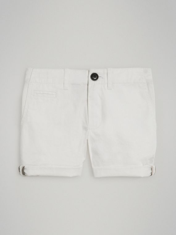 Cotton Twill Chino Shorts in White