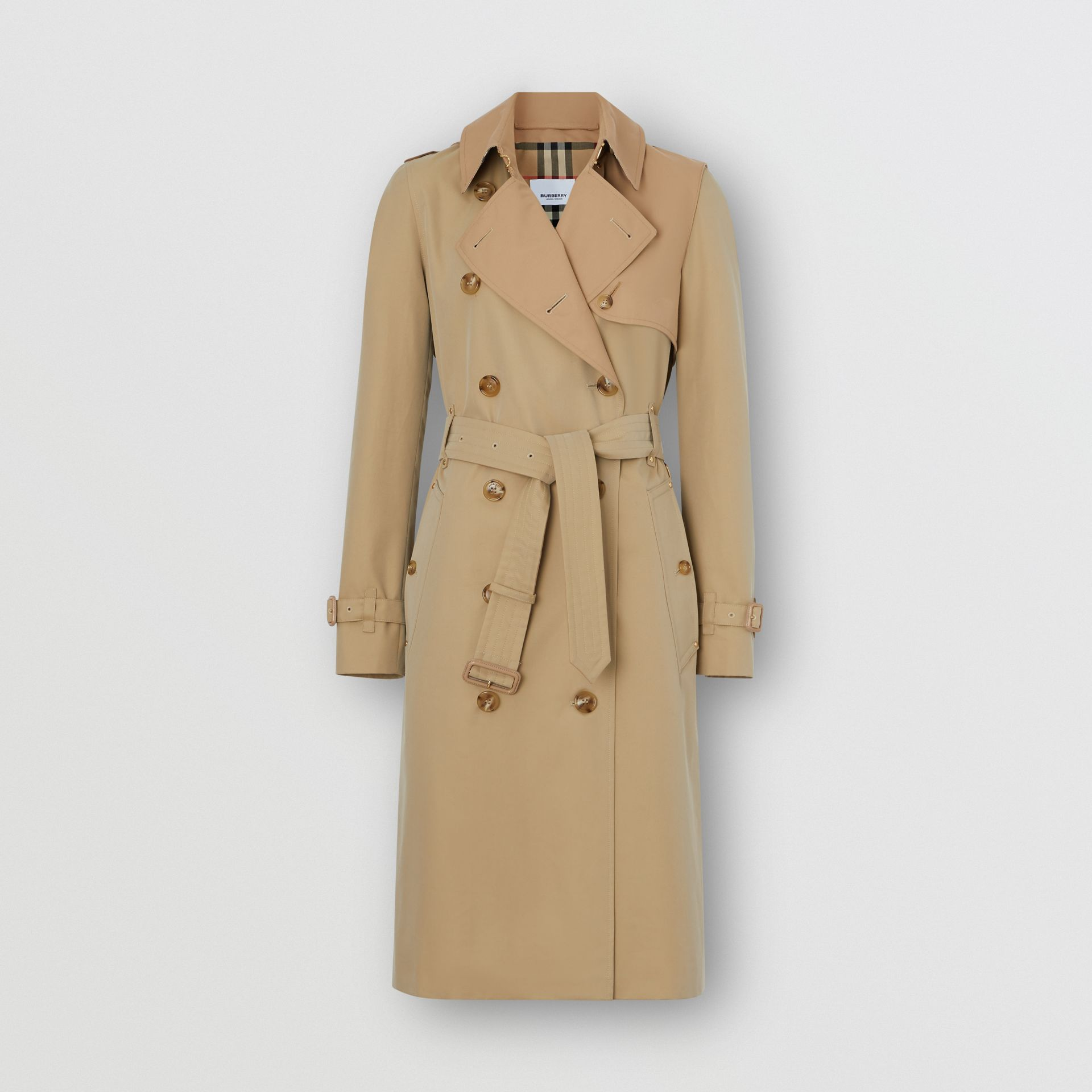 Two-tone Cotton Gabardine Trench Coat in Honey - Women | Burberry - gallery image 3