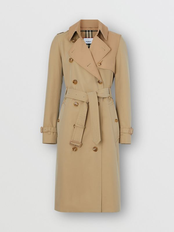 Two-tone Cotton Gabardine Trench Coat in Honey - Women | Burberry - cell image 3