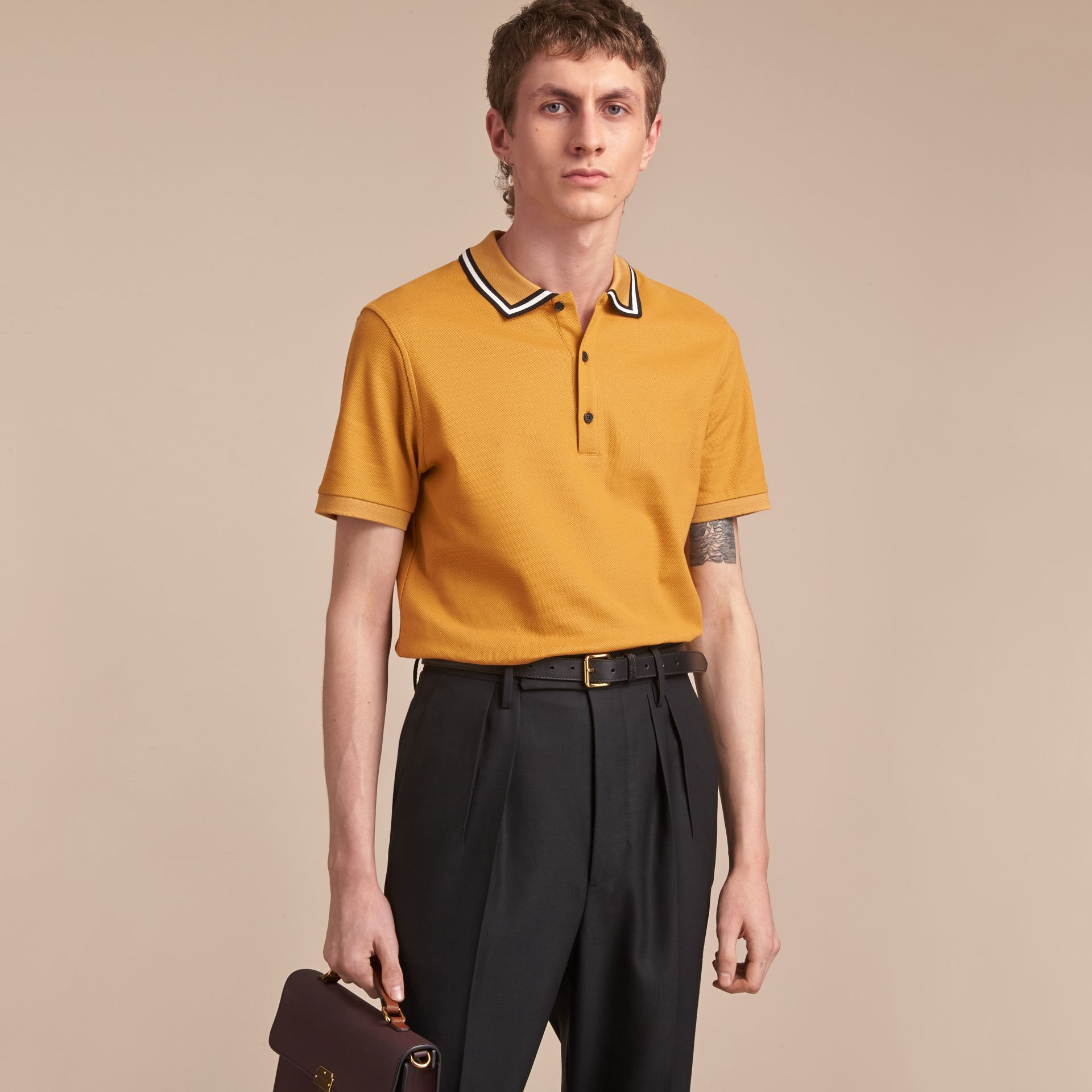 Striped Collar Cotton Piqué Polo Shirt in Saffron Yellow - Men | Burberry - gallery image 6