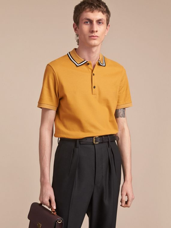 Striped Collar Cotton Piqué Polo Shirt in Saffron Yellow - Men | Burberry Australia