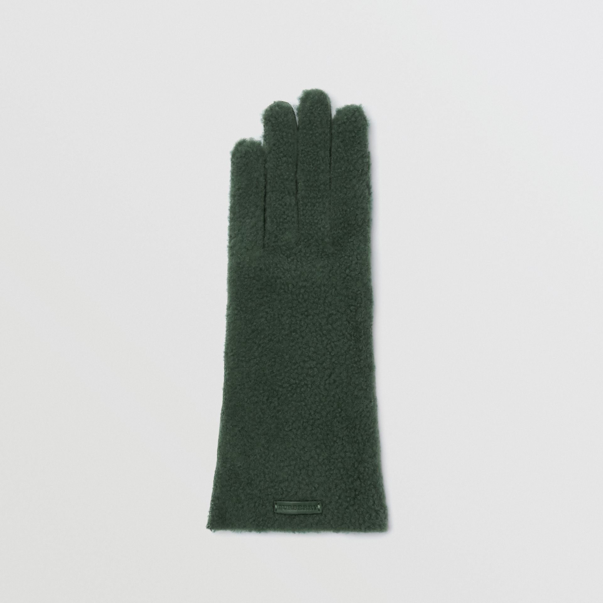 Shearling and Leather Gloves in Powder Green - Women | Burberry United Kingdom - gallery image 3