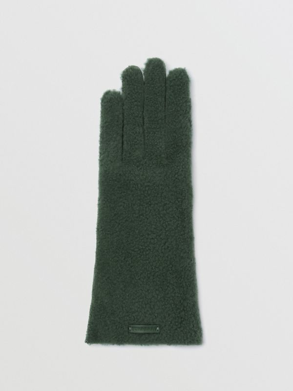 Shearling and Leather Gloves in Powder Green - Women | Burberry - cell image 3