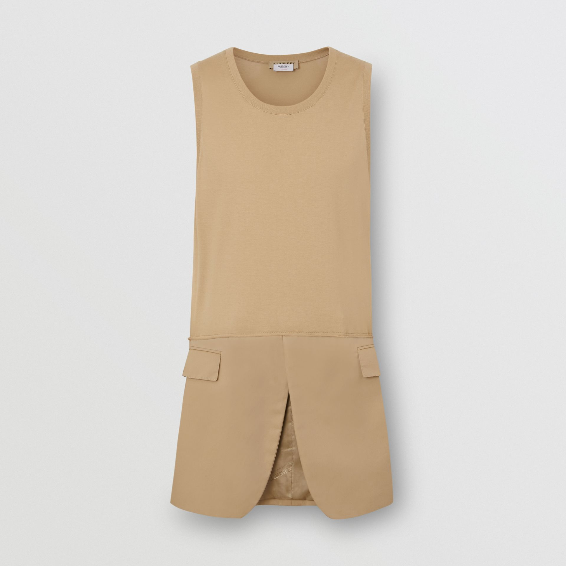 Suit Panel Cotton Vest in Honey | Burberry Singapore - gallery image 3