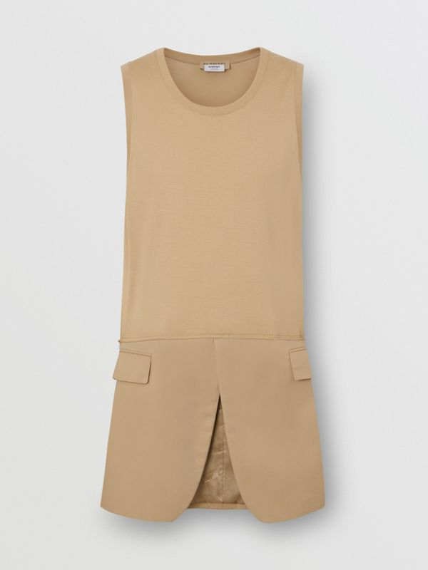 Suit Panel Cotton Vest in Honey | Burberry Singapore - cell image 3