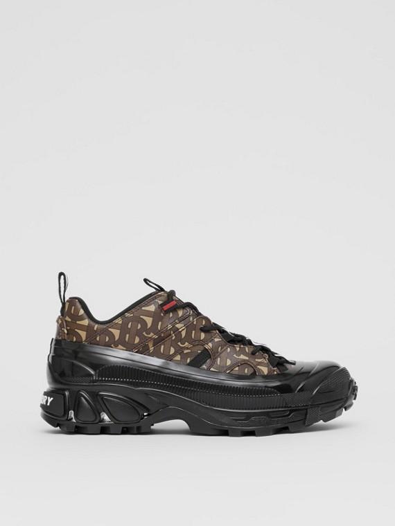 Zapatillas deportivas Arthur en lona ecológica con estampado de monogramas (Marrón Ecuestre)