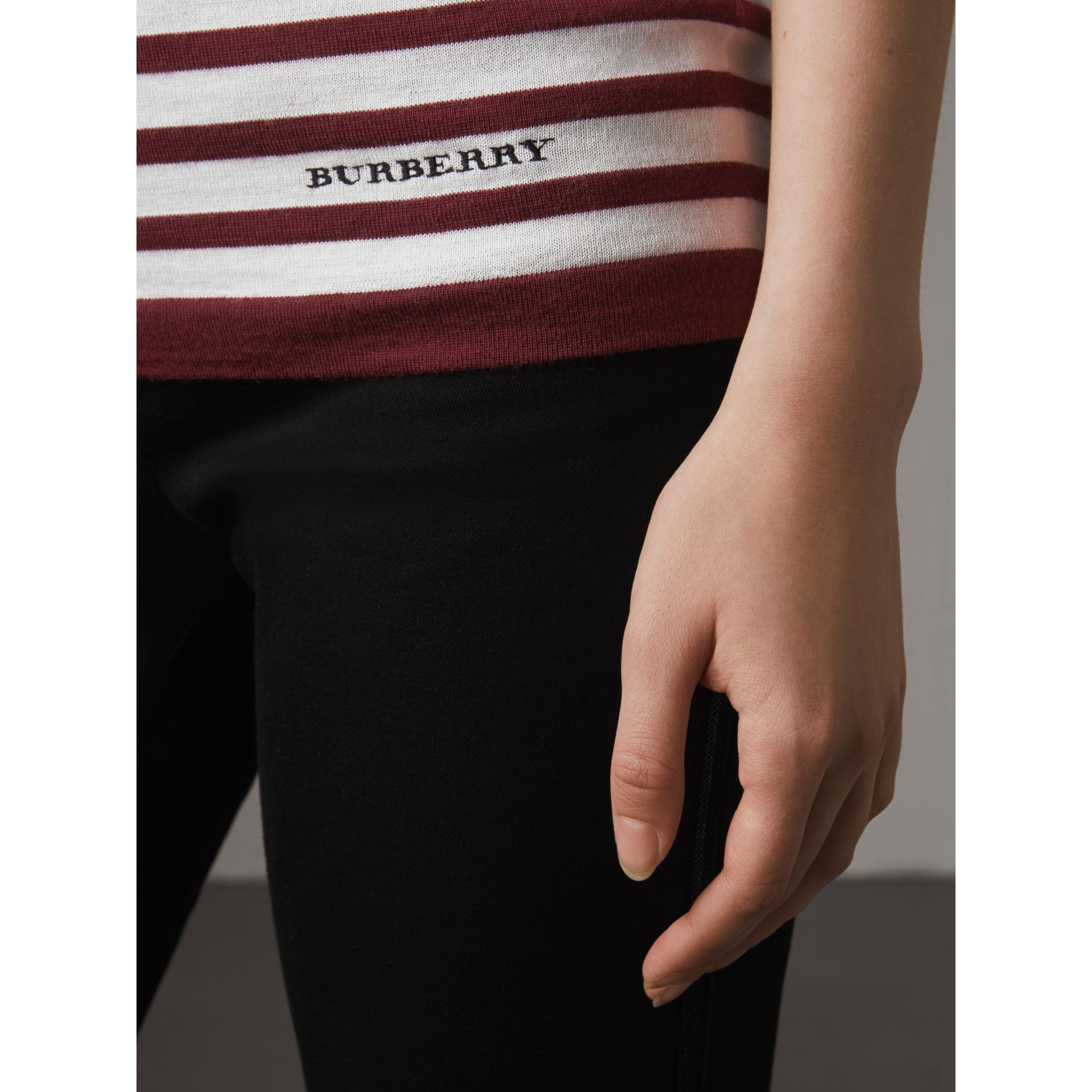 Graduated Stripe Merino Wool Sweater in Russet/natural White - Women | Burberry - gallery image 2